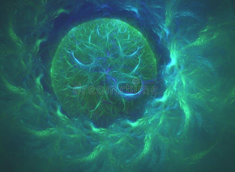 Linhas curvadas verdes de incandescência na forma do buraco negro sobre o universo abstrato escuro do espaço do fundo Ilustração ilustração stock