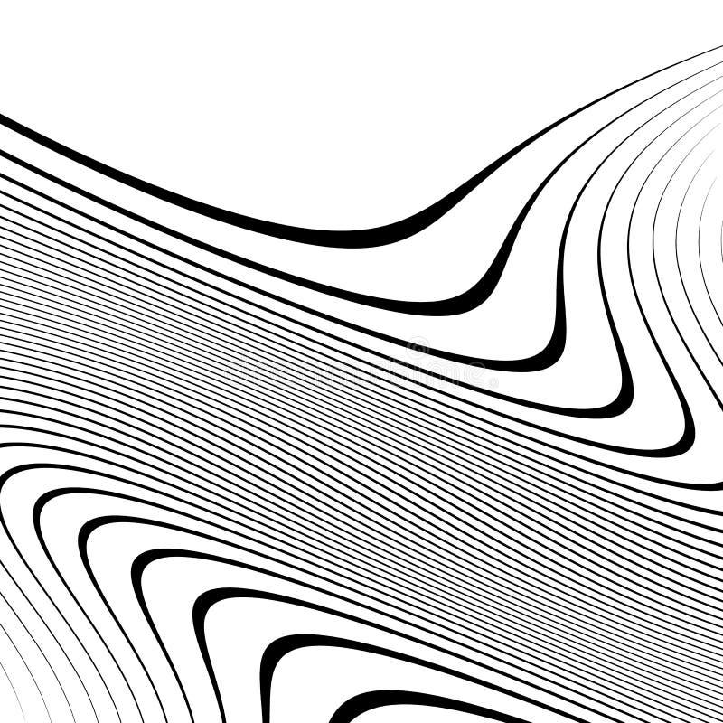 Linhas Curvy, acenando elemento abstrato da geometria Distor monocromático ilustração stock