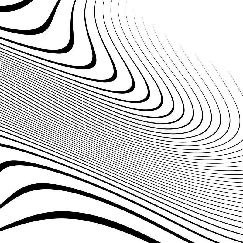 Linhas Curvy, acenando elemento abstrato da geometria Distor monocromático ilustração do vetor
