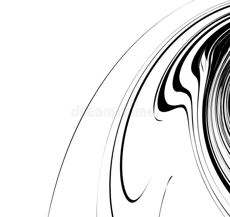 Linhas Curvy, acenando elemento abstrato da geometria Distor monocromático ilustração royalty free