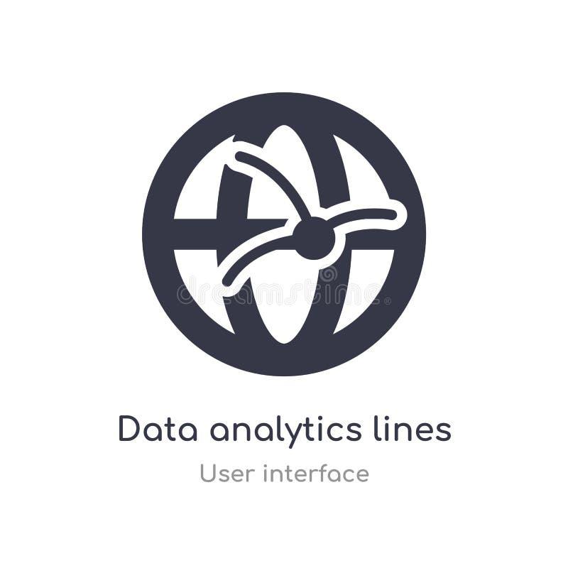 linhas da analítica dos dados no ícone esférico do esboço da grade linha isolada ilustra??o do vetor da cole??o da interface de u ilustração do vetor