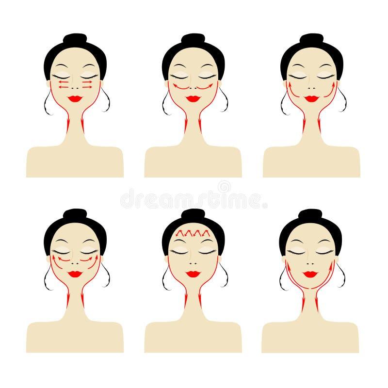 Linhas da massagem na face da mulher ilustração royalty free