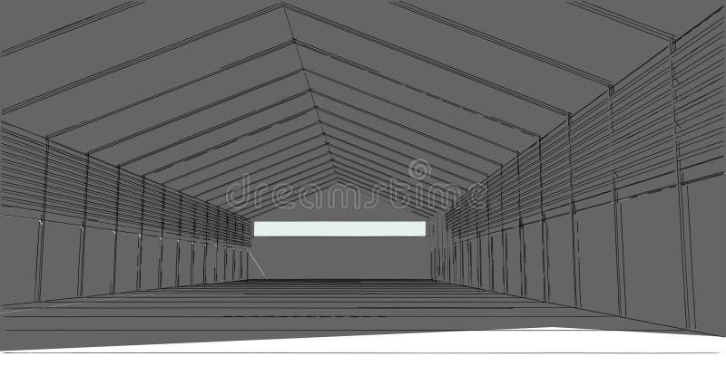 linhas da perspectiva da constru??o da arquitetura da ilustra??o 3D ilustração do vetor