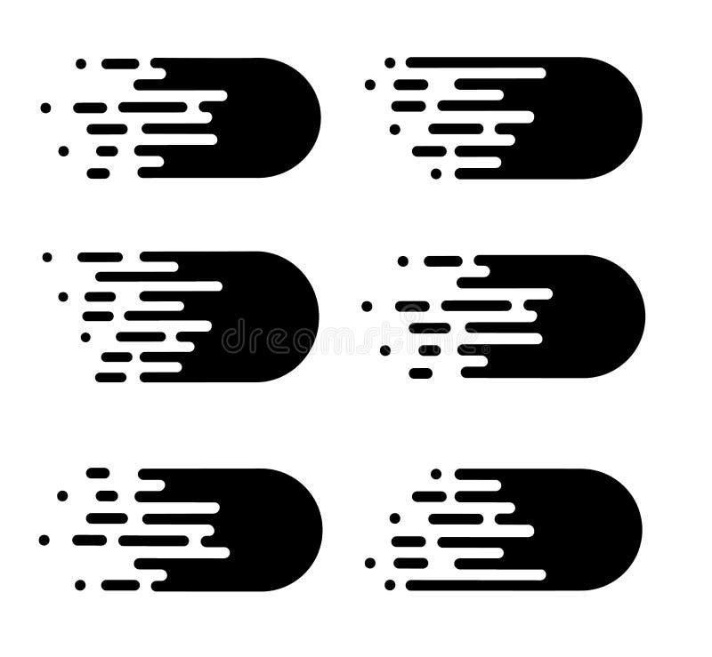Linhas da velocidade ajustadas isoladas no branco Efeito do movimento ilustração stock