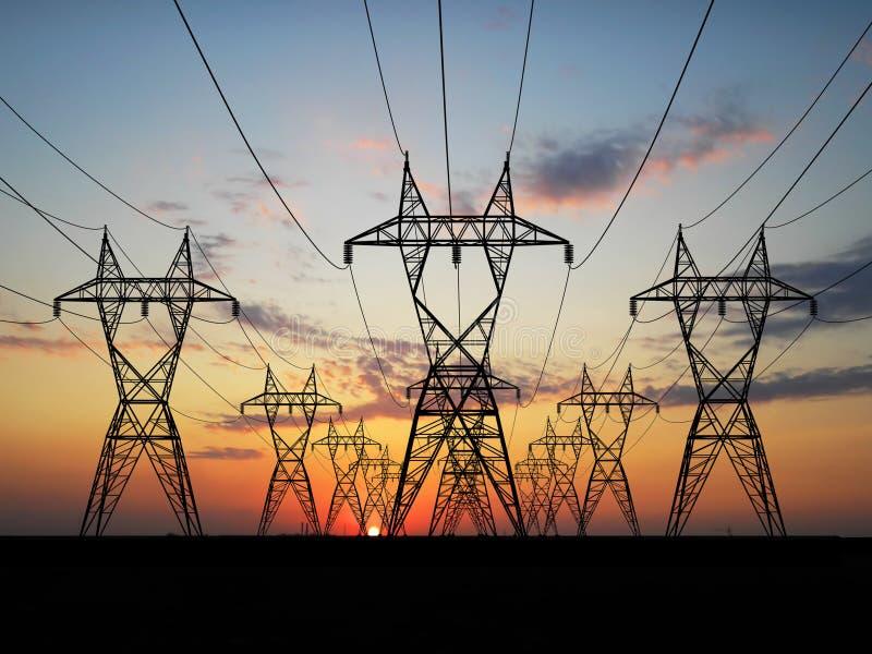 Linhas de alta tensão elétricas ilustração stock