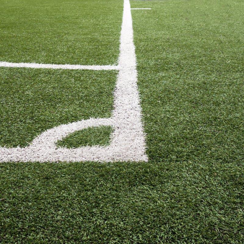 Linhas de canto no futebol/campo de Futsal imagens de stock