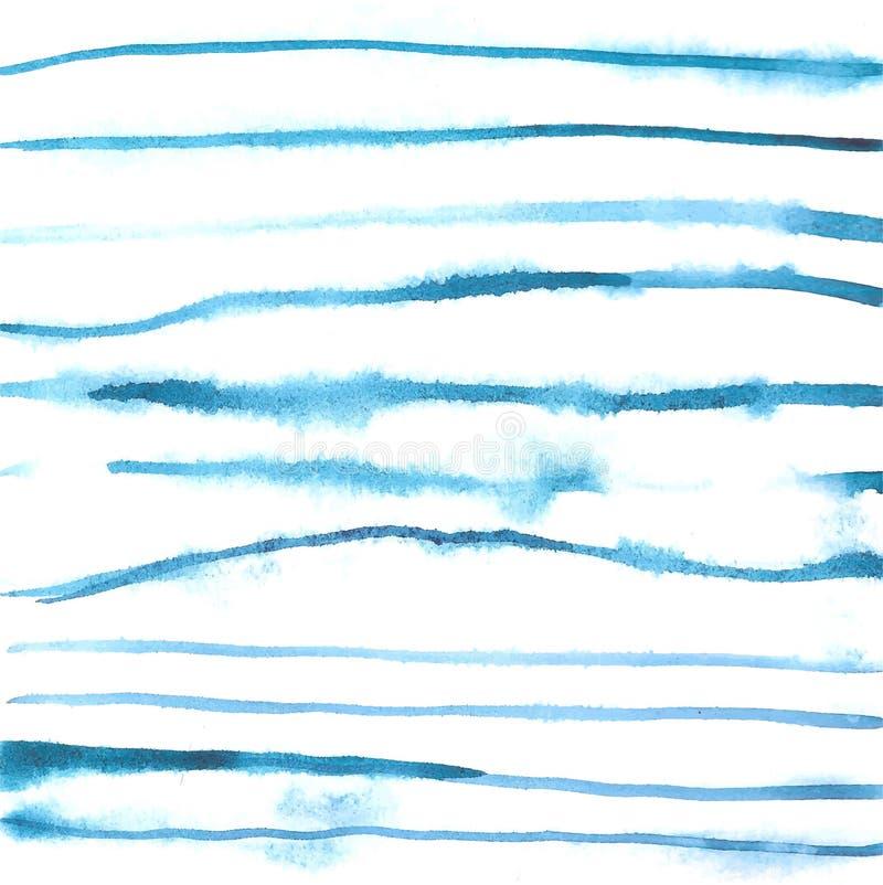 Linhas de carta branca azuis fundo da aquarela ilustração stock