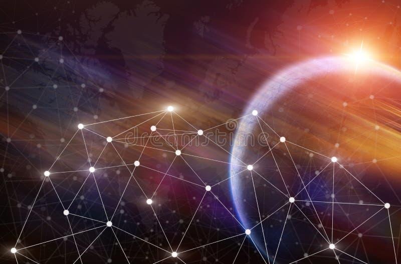 Linhas de comunicação dos símbolos da conexão Communica sem fio esperto ilustração royalty free