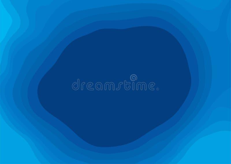 Linhas de contornos topográficas azuis abstratas de montanhas Topograph ilustração stock