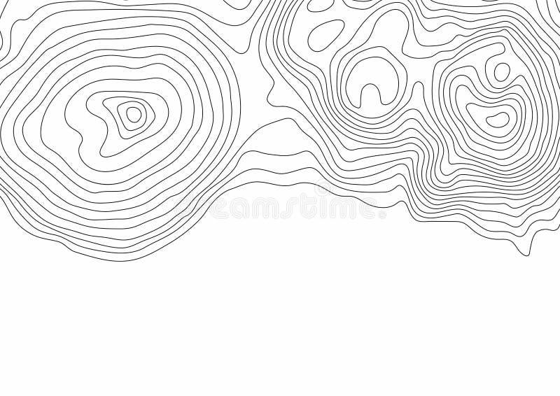 Linhas de contornos topográficas preto e branco abstratas de montanhas ilustração do vetor