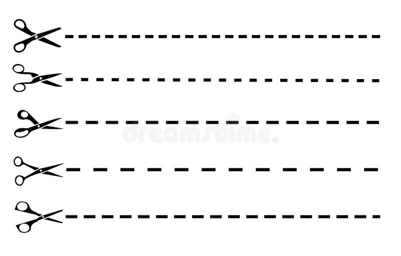Linhas de corte ajustadas com tesouras ilustração royalty free