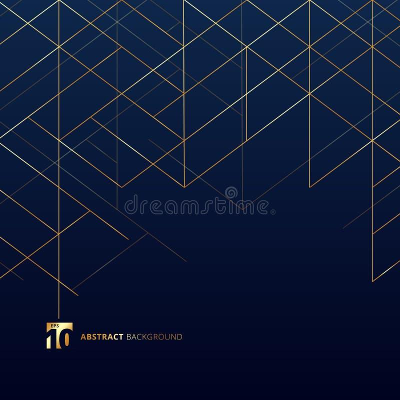 Linhas de dimensão abstratas cor do ouro em escuro - fundo azul Malha luxuosa moderna do quadrado do estilo Abstração geométrica  ilustração stock