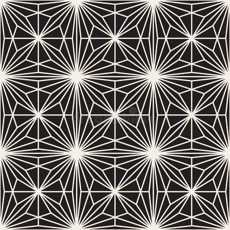 Linhas de estouro preto e branco sem emenda teste padrão geométrico do vetor ilustração stock