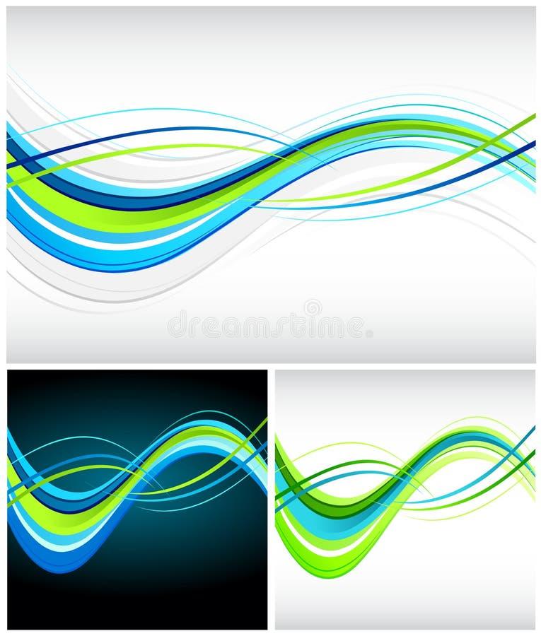 Linhas de fluxo azuis e verdes ilustração do vetor