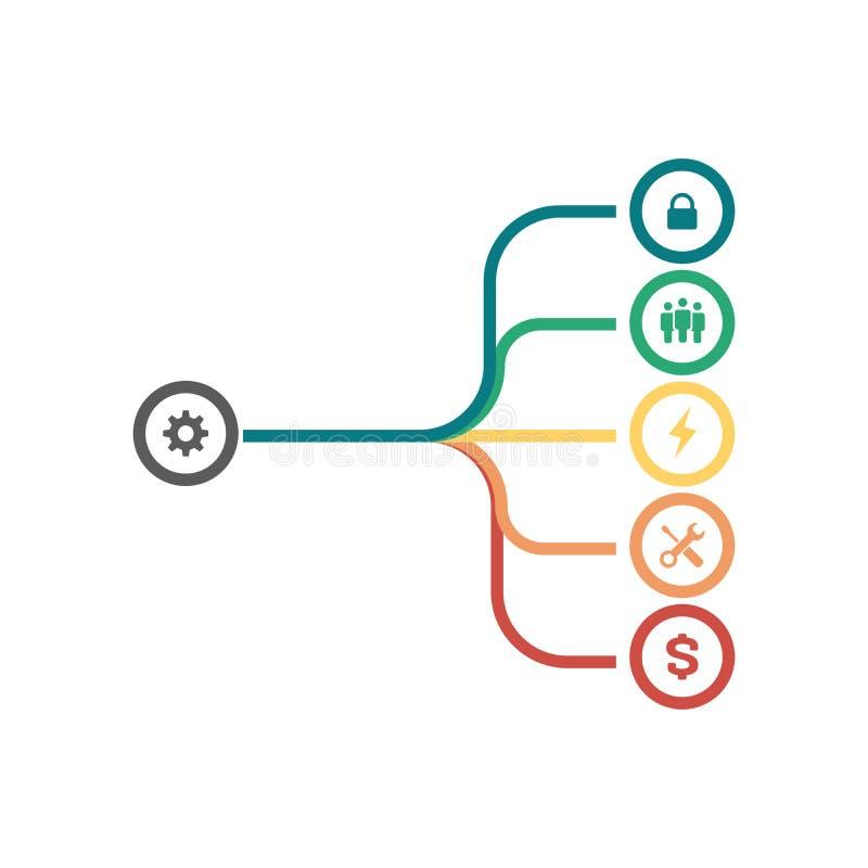 Linhas de fusão infographic do sumário, conceito do trabalho da equipe, estrutura, tudo em um molde Fundindo, isolamento, objetiv ilustração do vetor