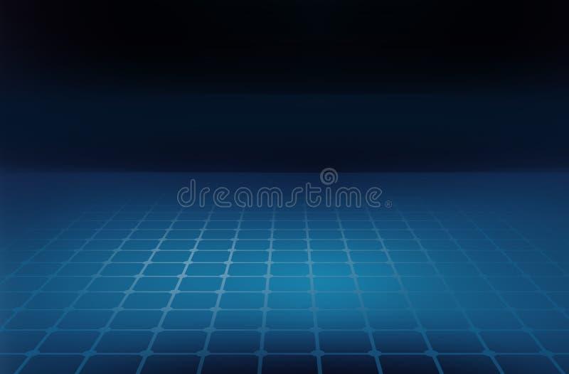 Linhas de grade abstratas gráficas do fundo no rés do chão azul ilustração do vetor