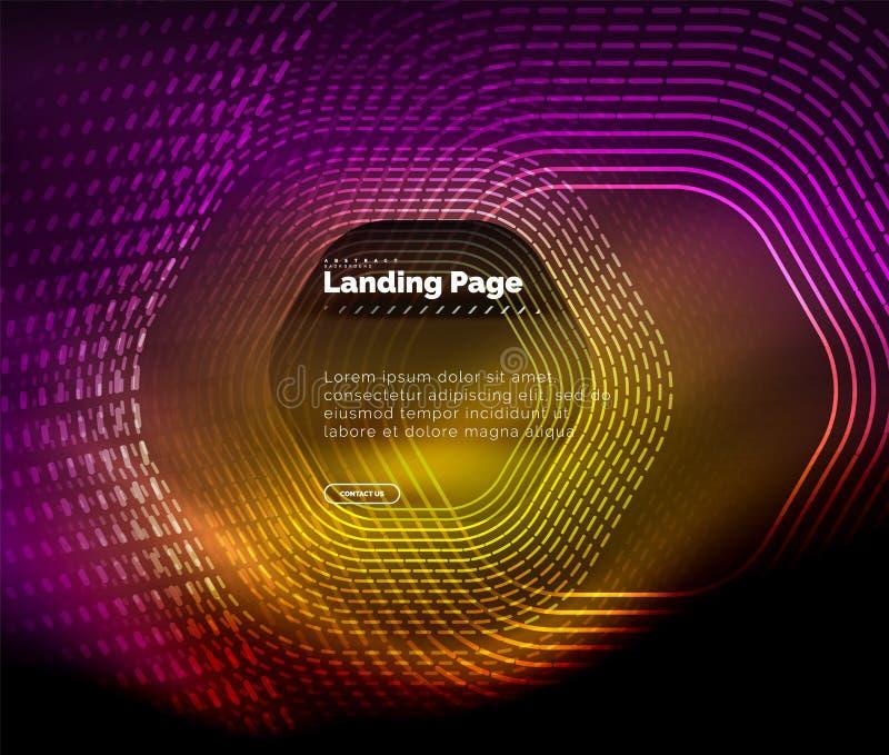 Linhas de incandescência da forma do hexágono do techno do néon, fundo abstrato futurista da olá!-tecnologia, molde de aterrissag ilustração stock