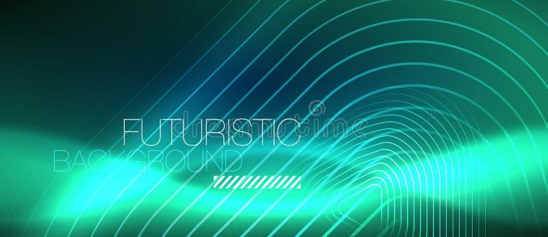 Linhas de incandescência de néon do techno, molde abstrato futurista do fundo da olá!-tecnologia com formas geométricas ilustração do vetor