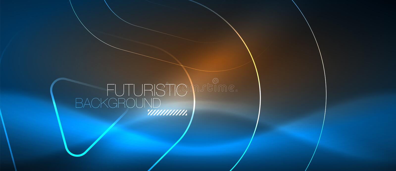 Linhas de incandescência de néon do techno, molde abstrato futurista do fundo da olá!-tecnologia com formas geométricas ilustração stock