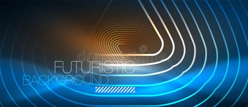Linhas de incandescência de néon do techno, molde abstrato futurista do fundo da olá!-tecnologia com formas geométricas ilustração royalty free