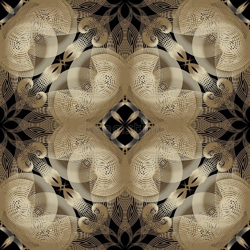 Linhas de intervalo mínimo vibrantes florais teste padrão sem emenda Fundo do Ornamental da eleg?ncia Linha abstrata moderna ouro ilustração royalty free