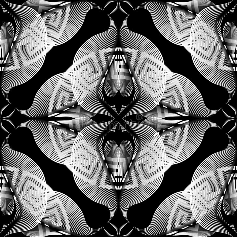 Linhas de intervalo mínimo vibrantes teste padrão sem emenda floral Fundo preto e branco decorativo geométrico do vetor Linha art ilustração do vetor