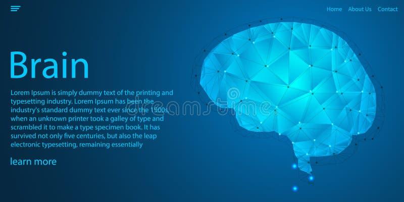Linhas de luz da conexão do cérebro, baixo conceito poligonal do tema da tecnologia Projeto do molde do Web site Ilustra??o do ve ilustração do vetor