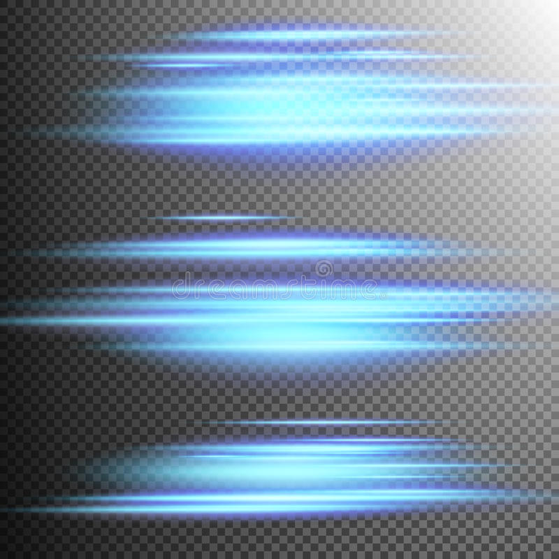 Linhas de luzes azuis lente do efeito Eps 10 ilustração royalty free
