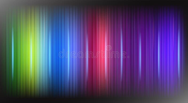 Linhas de luzes das cores do arco-íris no vetor moderno da tecnologia do projeto preto do sumário do fundo ilustração stock