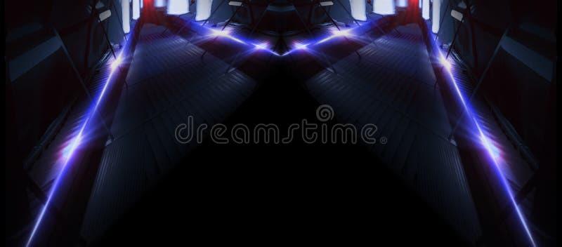 Linhas de néon em um fundo escuro O fundo do espaço, luzes espaça unidades Fundo de néon abstrato, túneis cósmicos ilustração do vetor