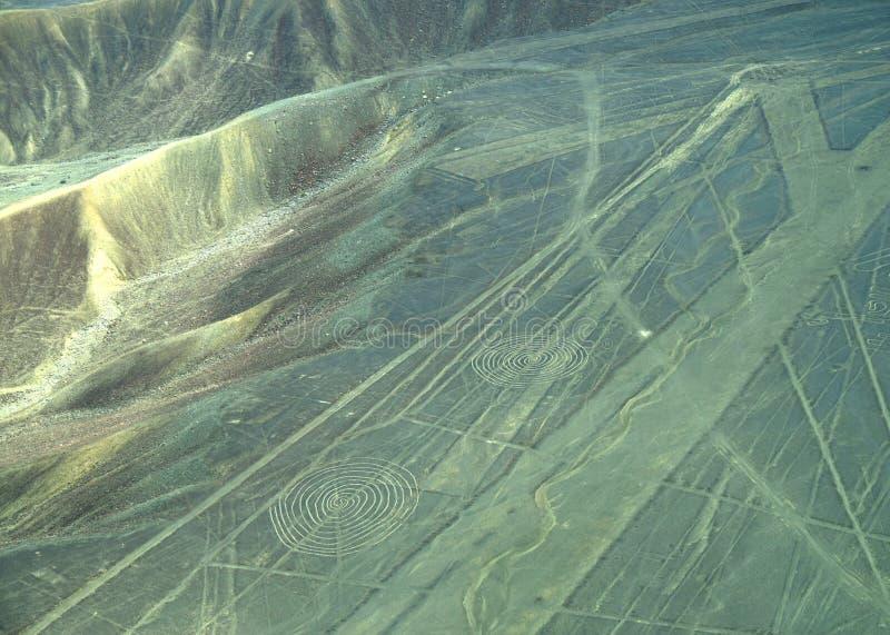 Linhas de Nazca: Espirais foto de stock