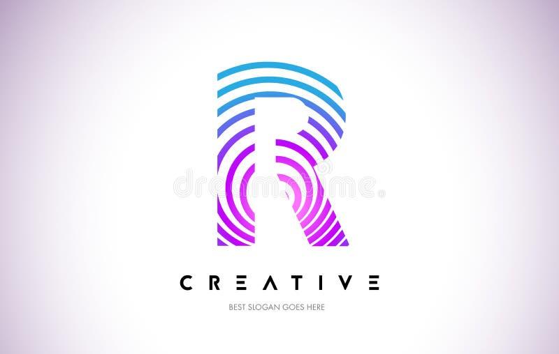 Linhas de R urdidura Logo Design Ícone da letra feito com circular roxa ilustração royalty free
