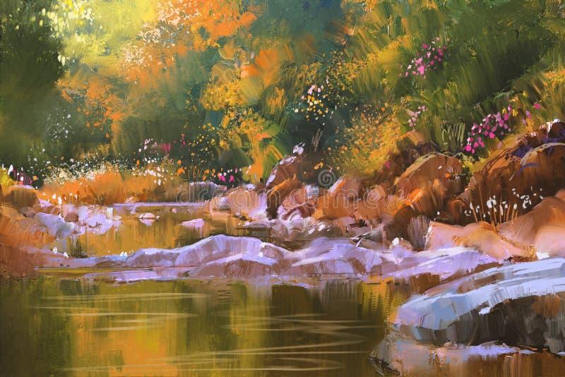 Linhas de rio com as pedras na floresta bonita, natureza ilustração do vetor