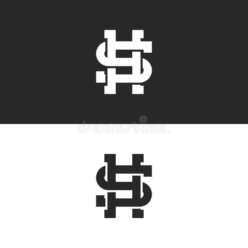 Linhas de sobreposição estilo do monograma à moda SH ou do HS das letras do logotipo, tecendo dois emblemas da arte das iniciais  ilustração do vetor