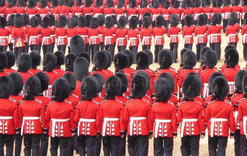 Linhas de soldados em seus uniformes vermelhos e peles do urso preto foto de stock