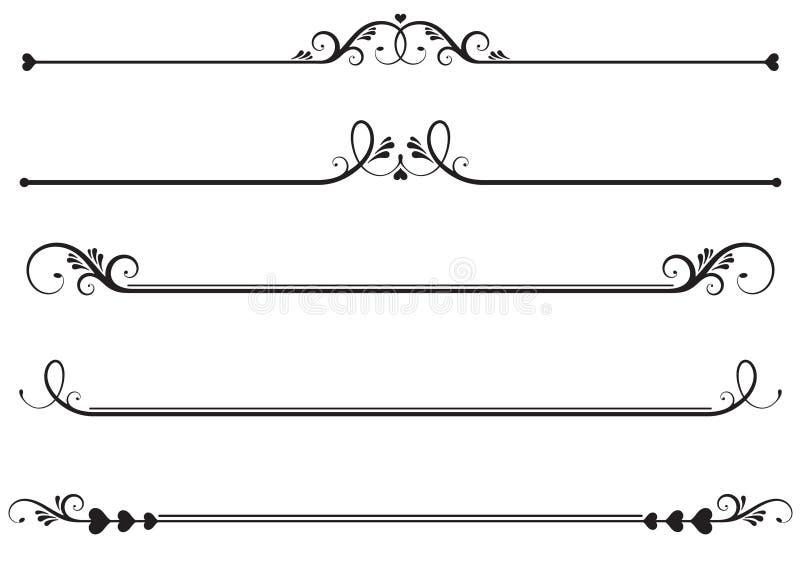 Linhas decorativas da régua ilustração do vetor