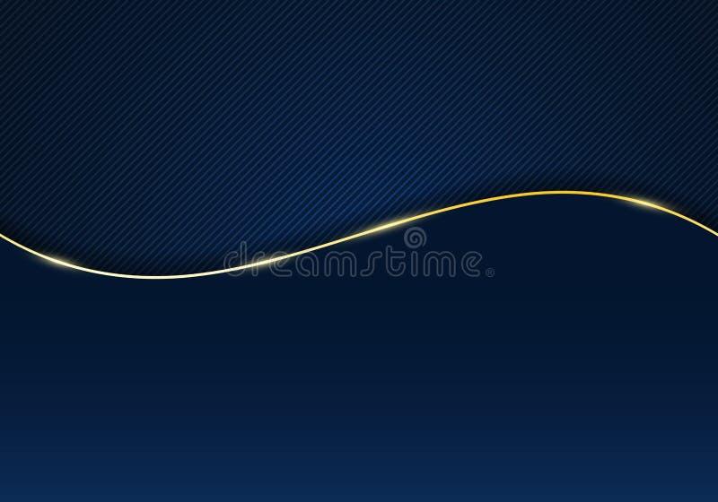 Linhas diagonais de modelo abstrato com fundo e textura de gradiente azul escuro listrados com linha de onda dourada e espaço par ilustração stock