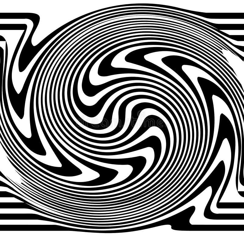 Linhas distorcidas A ondinha, pirueta distorceu linhas abstratas ilustração stock