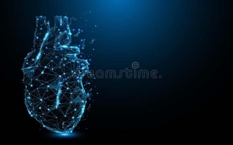 Linhas do formulário do ícone do coração e triângulos abstratos, rede de conexão do ponto no fundo azul ilustração do vetor