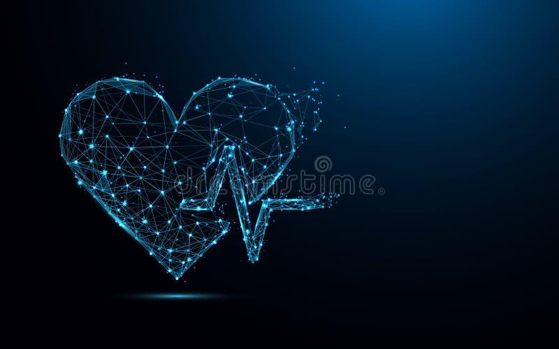 Linhas do formulário do batimento cardíaco e triângulos abstratos, rede de conexão do ponto no fundo azul ilustração royalty free