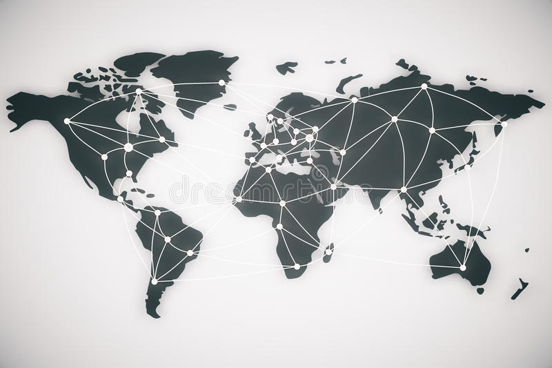 Linhas do mapa do mundo e da conexão fotografia de stock
