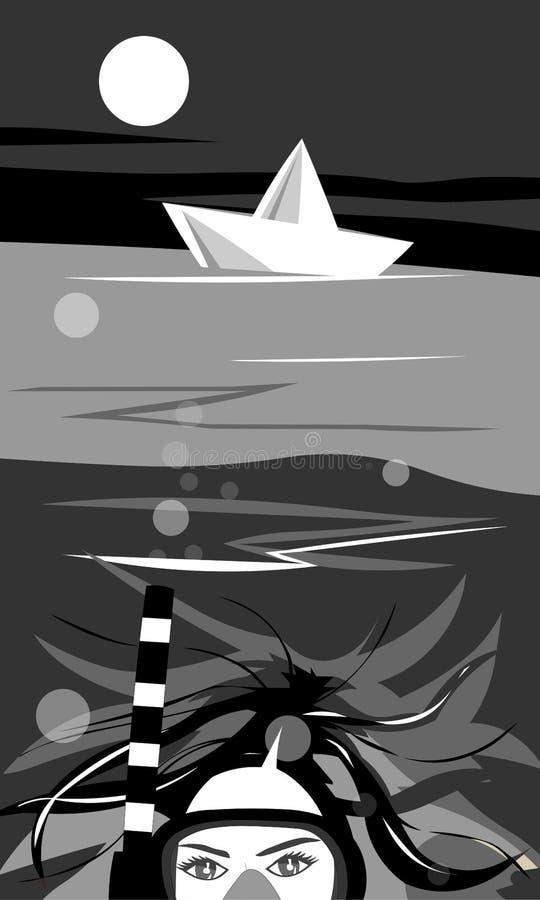 Linhas do vetor Menina sob o mar, com um tubo de respiração e uma máscara ilustração do vetor