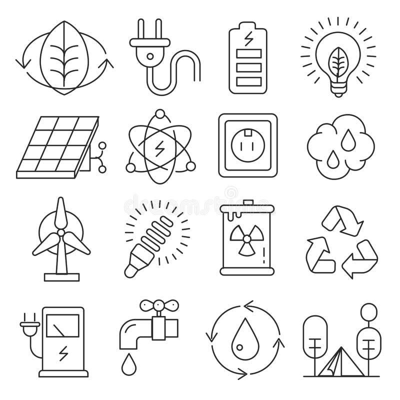 Linhas dos ícones do vetor ajustadas ilustração royalty free