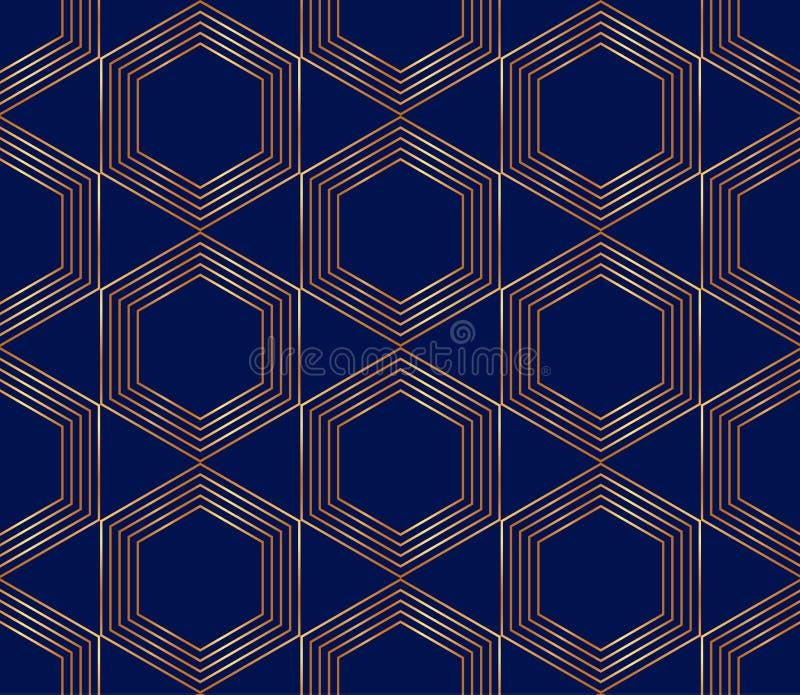 Linhas douradas sem emenda, teste padrão moderno geométrico Hexágonos no fundo azul ilustração royalty free