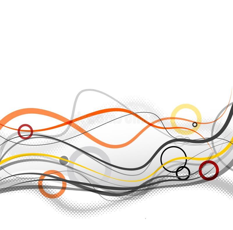 Linhas e círculos simples abstratos no pé de página ilustração do vetor