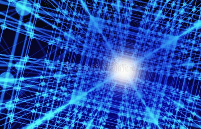 Linhas e esferas do triângulo dos dados de Digitas e da conexão de rede mim ilustração stock