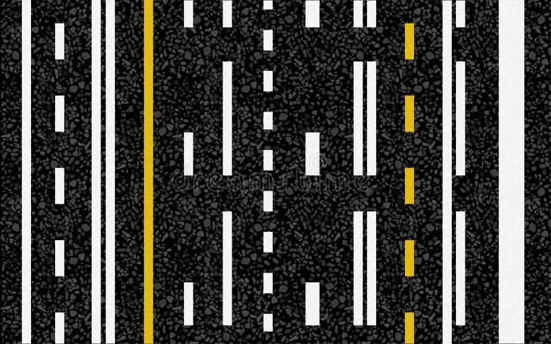 Linhas e marcações da pista na estrada ilustração stock
