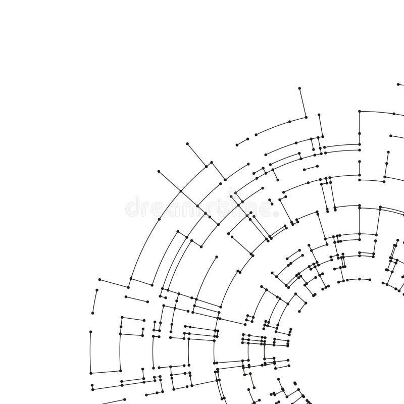 Linhas e pontos de conexão no fundo branco Conceito de projeto abstrato da conexão de rede Vetor do projeto da tecnologia ilustração royalty free