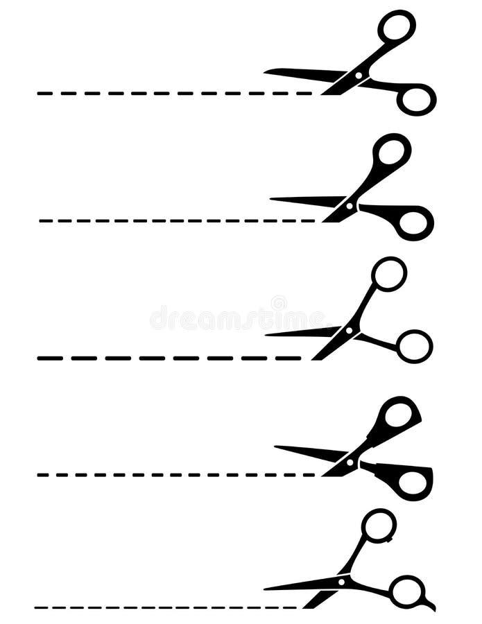 Linhas e tesouras de corte ilustração royalty free