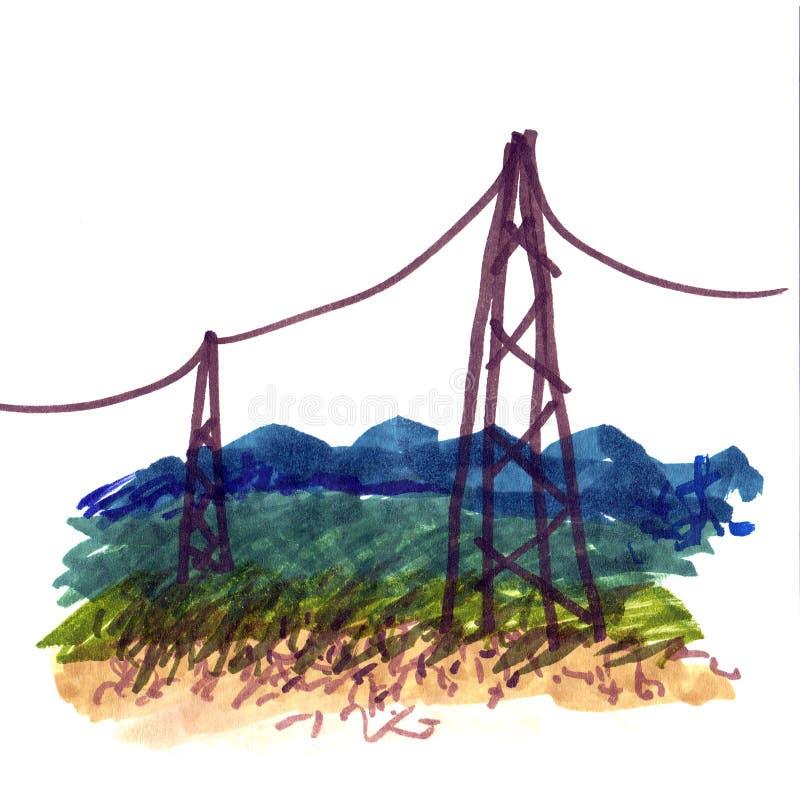 Linhas eléctricas ilustração royalty free